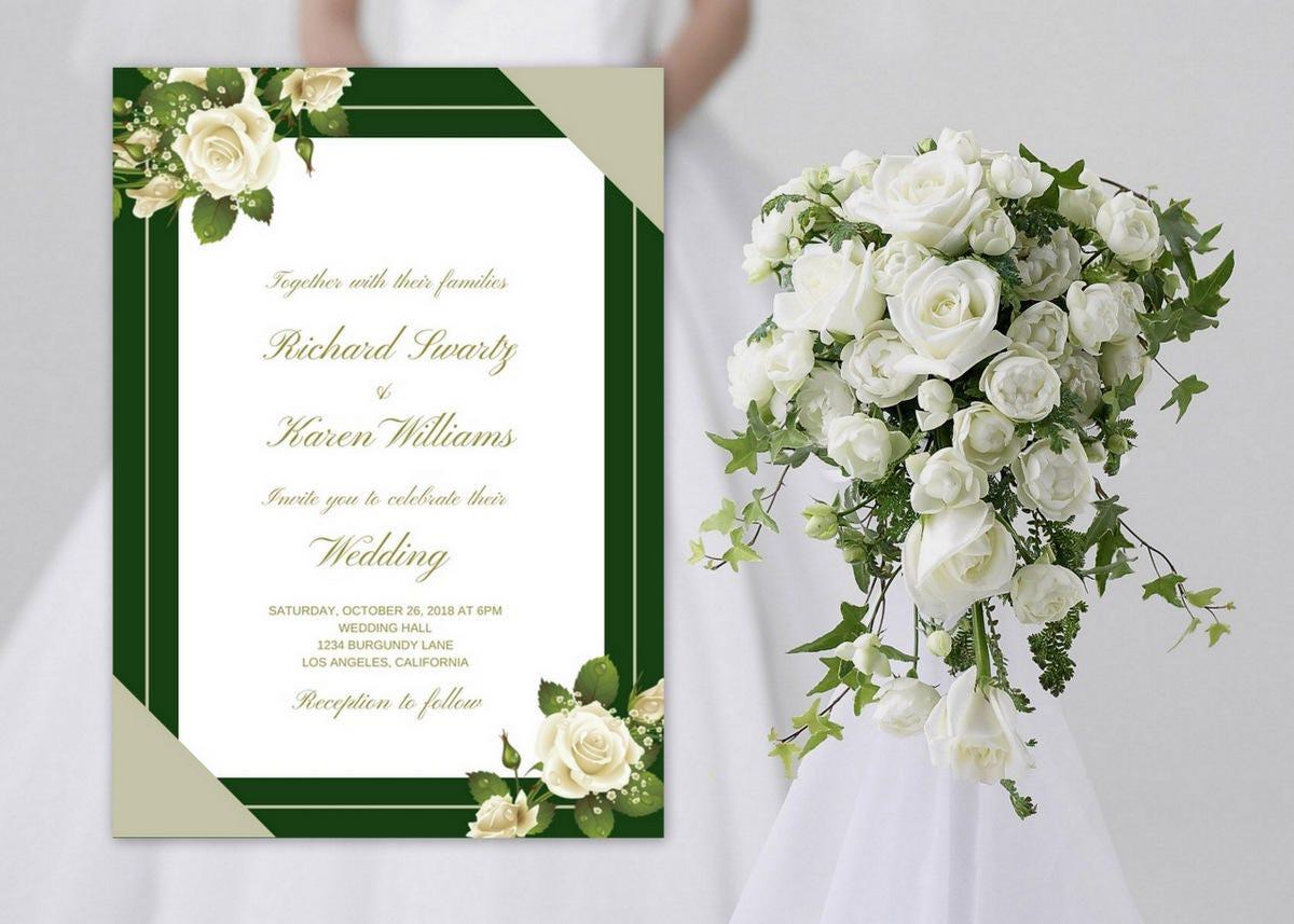 Wedding Invitation Roses, Wedding Invitation Green, Green Wedding ...