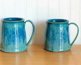 Blue Green Mugs 10-12oz