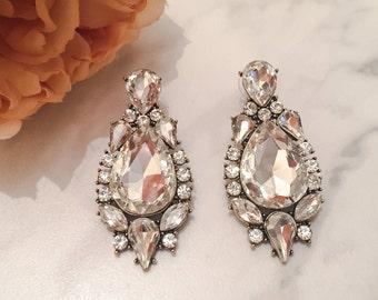 Long Rhinestone Gold Earrings || Women's Statement Earrings