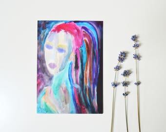 Rainbow card dreadlocks hippie girl print color card expressionism art original painting card boho girl art watercolor postcard