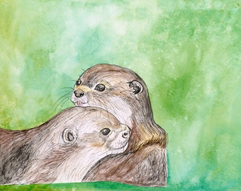 Otter Love (original watercolor and ink painting)