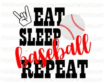 Eat Sleep Baseball Repeat SVG Clipart Cut Files Silhouette Cameo Svg for Cricut and Vinyl File cutting Digital cuts file DXF Png Pdf Eps