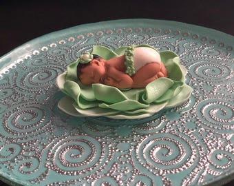 Fondant Baby Shower Cake Topper, Fondant Flower Baby, Sleeping Fondant Baby, Fairy Baby Shower