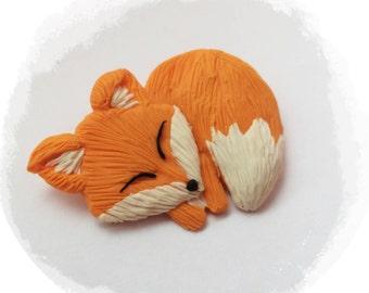 Brooch Handmade from Polymer clay Fox gift