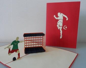 Footballer Pop up Card Birthday Well Done Congratulations Blank (sku032)