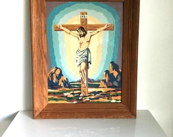 INRI Jesus paint-by-number framed painting