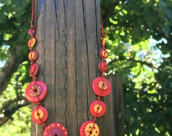 Sunny handmade polymer clay necklace