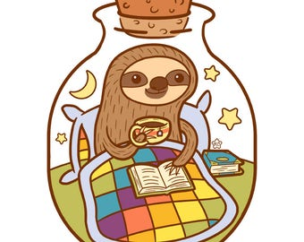 Snuggly Sloth Relaxing and Reading in a Bottle Print