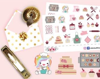 Unicorn Bake Stickers, Unicorn Planner Stickers, Bakery Stickers, Pastry Stickers, Scrapbook Stickers, Planner Accessories