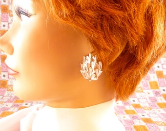 Silver Crown Trifari clip on earrings