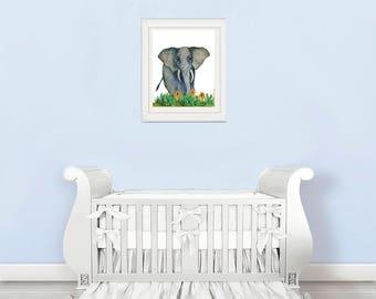 elephant nursery decal, elephant nursery wall decal , elephant nursery wall decor, elephant nursery wall art, Nursery animal wall decal