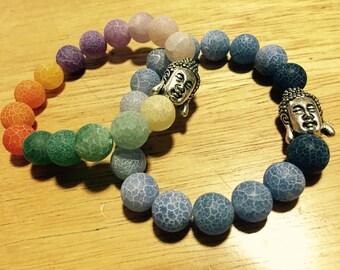 Rainbow & Blue Buddha Bracelets (Sold separately)