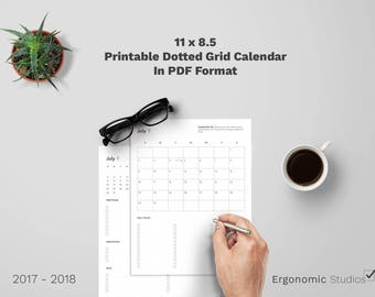 Printable Productivity Calendar  2017 - 2018 (Dotted Grid)