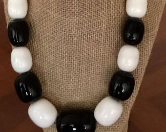 One of a kind chunky resin statement necklace black and white