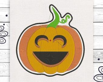 Happy pumpkin Embroidery digital design 4 sizes INSTANT DOWNLOAD EE5127