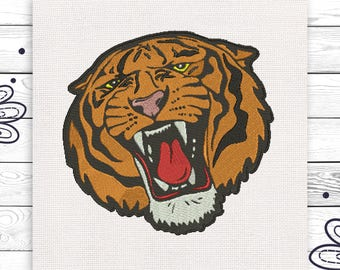 Tiger embroidery Angry tiger embroidery scheme Machine embroidery design sizes INSTANT DOWNLOAD EE5216