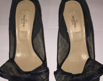 Vintage Valentino Black Lace heels