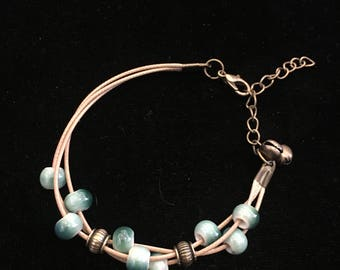 adjustable multi-strand BRACELET with HANDPAINTED green ceramic and brass beads