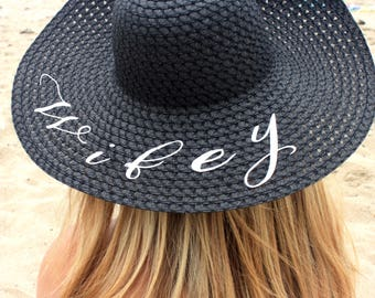 WIFEY FLOPPY SUN Hat. Large Brim, Packable, and Durable. Bride Gift