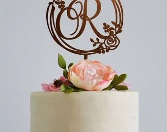 Wedding Monogram Cake Topper Initials Custom Toppers Letter R Gold Initial