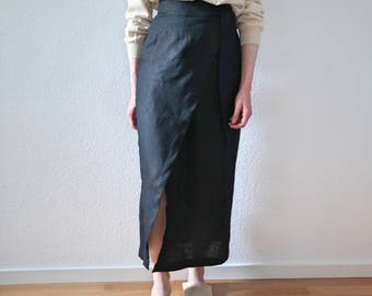 Asymmetric wrap skirt- Linen skirt- Wrap skirt- Pencil Skirt