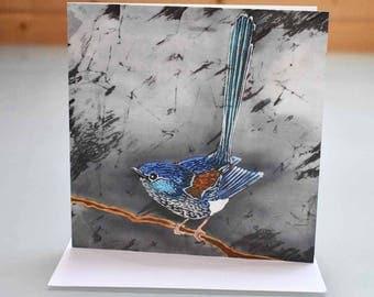 Fairy Wren Card - wren greeting card, bird card, bird greeting card, wren birthday card, blank inside card, wren batik, garden bird card