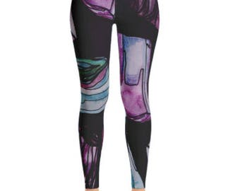 Gemstone Printed leggings with pink stones