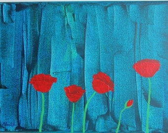 9x12 Original Acrylic Painting of Poppies - 'Blooming Together'