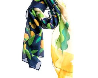 "Mother's hug"" art designed silk scarf p"