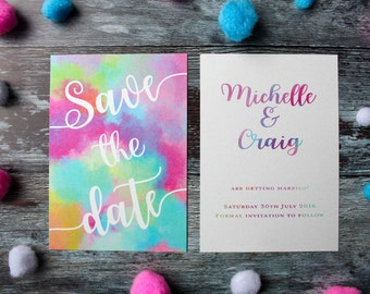 Bright wedding save the date, colourful save the date card, bright rainbow save the date, pearlised wedding stationery, rainbow wedding
