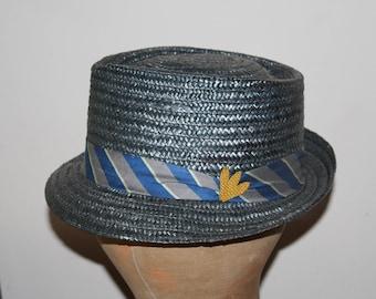 Straw stingy brim hat, vintage 1960's, 7 1/8 hat size