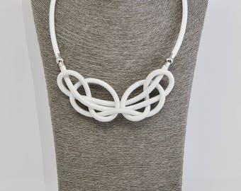 Single knot rope Celtic necklace - white 2v1 by Treda design