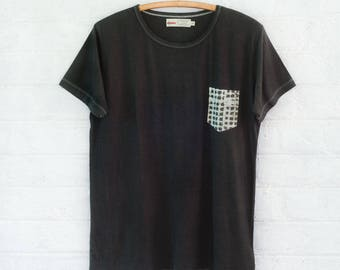 The Pocket Tshirt in Indigo and Grey Batik Organic Cotton