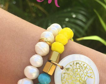 Set bracelets colors of summer, tree of life, cultured pearl.