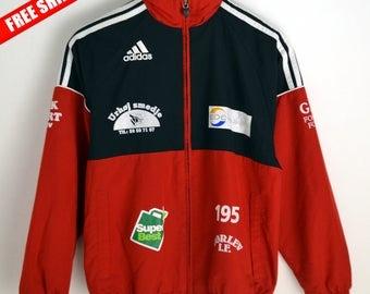 Adidas Windbreaker Vintage M L 90s windbreaker Adidas Vintage Windbreaker Adidas Vintage Adidas jacket 90s Red Adidas 3 stripes brand M L