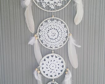 Large White Four Ring Feather Dreamcatcher