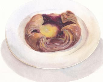 Original watercolor painting / Danish pastry on white plate / Baked goods / Dessert painting / Wall decor / Realistic food art / Sweet bun