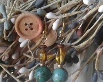Handmade amber and turquoise earrings