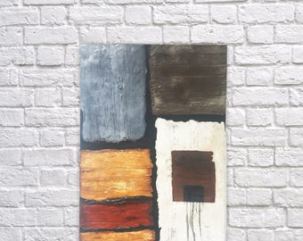 Original abstract painting, mixed media, acrylic painting, modern art, textured art, contemporary art, grey, brown, black, white