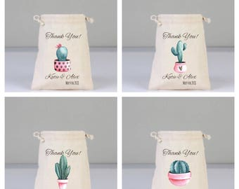 4 Cactus Bags, Thank You Gift Bag, Cotton bags drawstring,  Wedding Favors, Wedding Party Bags, Cactus Favors, Bridal Shower Gifts