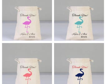 4 Flamingo Thank You Gift Bag, Cotton bags drawstring,  Wedding Favors, Wedding Party Bags, Flamingo Favors, Bridal Shower Gifts