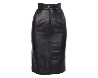 Saks Fifth Ave Leather Pencil Skirt - Women's Size FR36