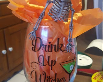 Halloween Wine Glass with Skeleton