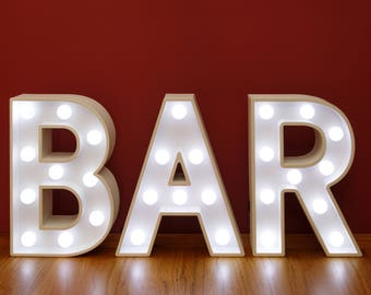 """Light Up BAR Sign 23cm (9"""") high for Home Bar or Wedding Illuminated White Wooden 3D Marquee Letters LED Lights Wall Hanging or Freestanding"""