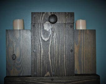 Rustic Wood Box Centerpiece, Rustic Wood Tealight Candle Holders