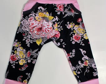Black Floral Grow With Me Pants 12M-3T