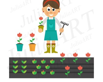 cartoon woman with flower and apron and garden