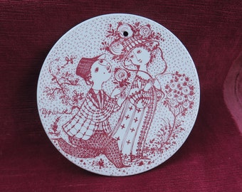 plaque décorative céramique à suspendre,Juni Roser /Nymolle Denmark /Bjorn Wiinblad,ramassage de pommes,cerámica decorativa para colgar