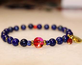 Genuine Lapis Lazuli Gemstone Beaded Stretch Bracelet with a Heart Charm for Her. Blue Bracelet. Lapis Lazuli Jewellery. Red Bracelet.