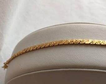 "Monet ""Love in Many Languages"" Gold Tone Chain Vintage 1970s Bracelet"